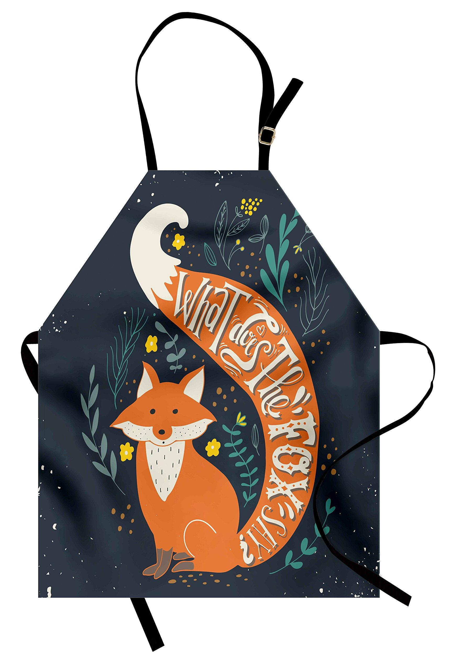 Ambesonne Vintage Apron, What Does The Fox Say? Quote Hipster Animals Know Better Habitat Creature Illustration, Unisex Kitchen Bib Apron with Adjustable Neck for Cooking Baking Gardening, Multi
