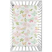 Sweet Jojo Designs Blush Pink, Mint and White Watercolor Rose Baby Fitted Mini Portable Crib Sheet for Butterfly Floral Collection