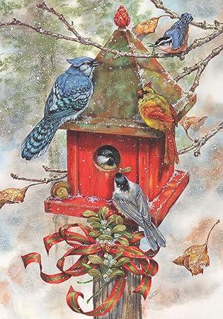 Amazoncom Briarwood Lane Winter Birdhouse Garden Flag Blue Jays