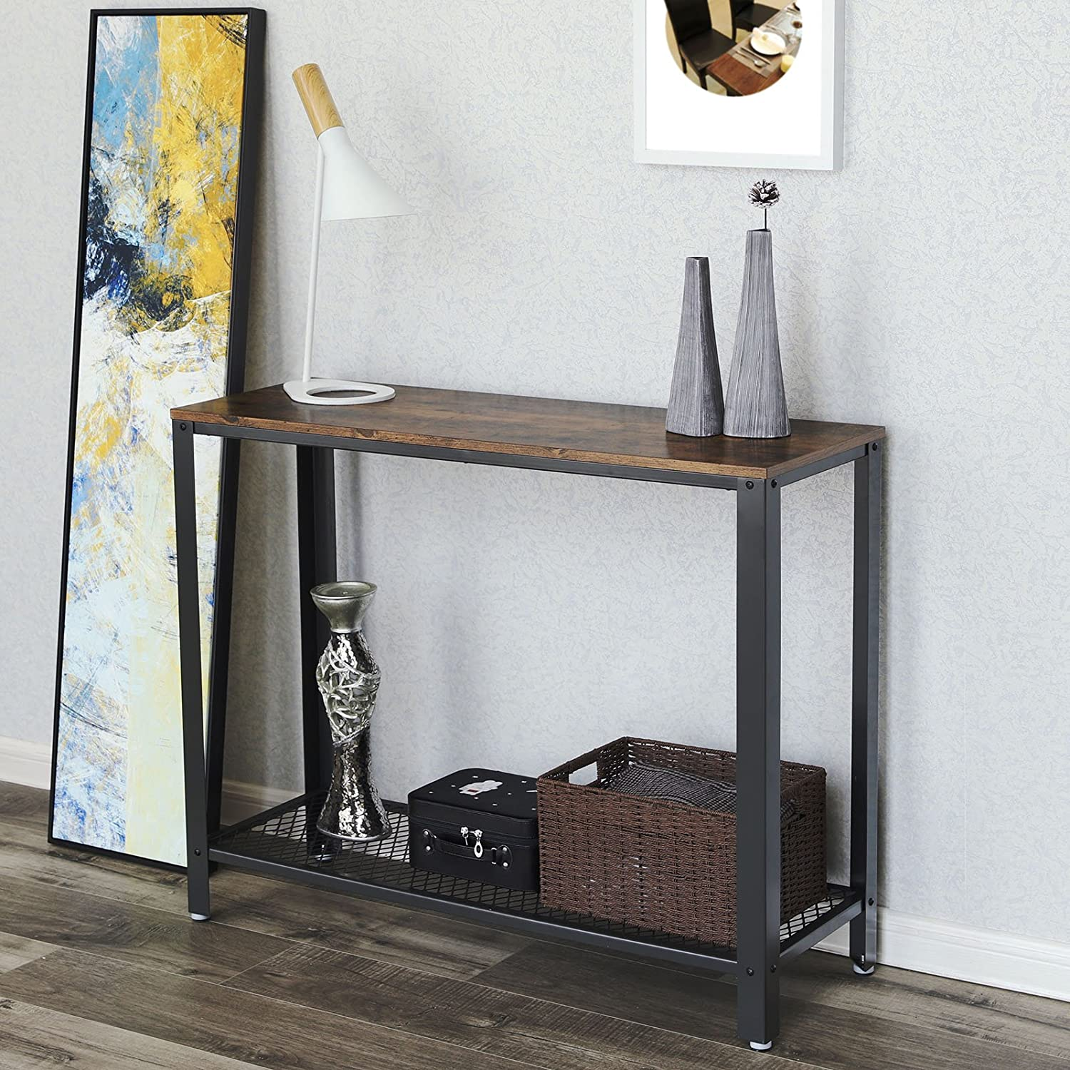 VASAGLE Vintage Console, Sofa Side Table for Entryway Living Room, Easy Assembly and Sturdy Metal Frame ULNT80X