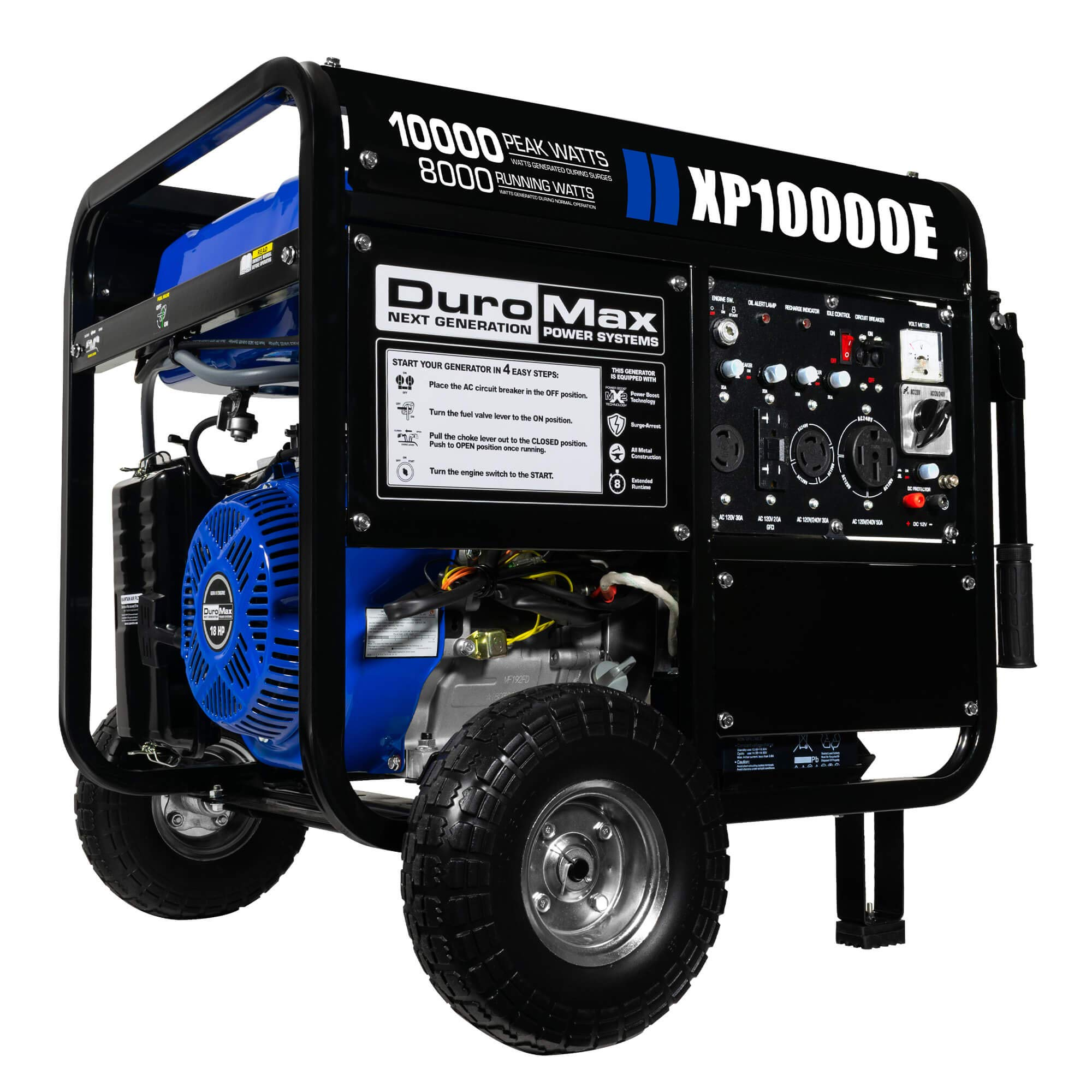 DuroMax XP10000E, 8000 Running Watts/10000 Starting Watts, Gas Powered Portable Generator – Refurbished