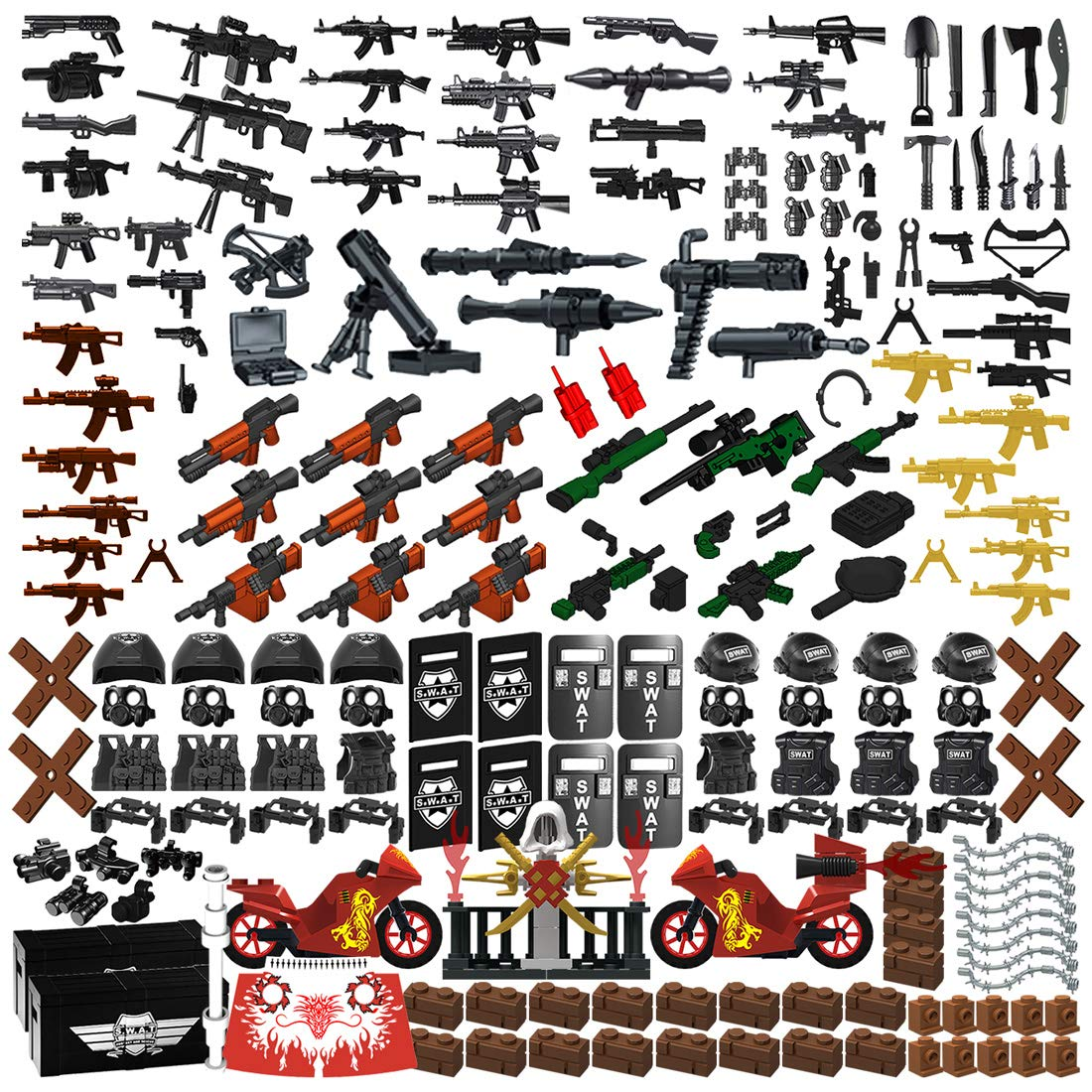 Nicolababe Weapon Pack 225 PCS Accessories Military Weapon Set Incl AK Assault Rifles and Motorcycles Designed for Minifigures Compatible with Minifigures of All Major Brands (SWAT Weapon)