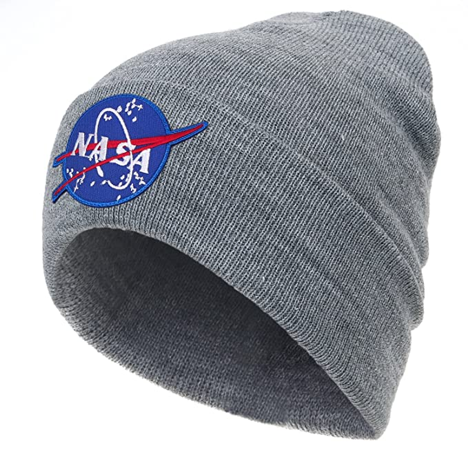 844a4794 ililily NASA Meatball Logo Embroidery Fold Over Soft Beanie Ribbed Knit Hat,  Grey at Amazon Men's Clothing store: