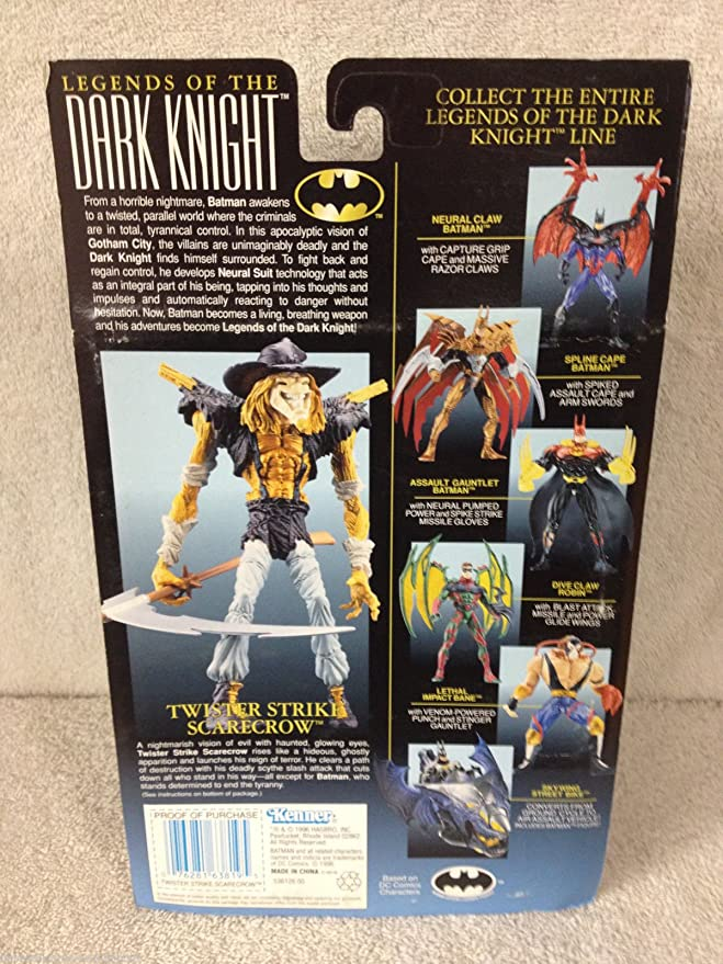 Batman 1996 Legends of the Dark Knight Premium Collector Series 7-1//2 Inch Tall Action Figure Twister Strike Scarecrow with Scythe Slash Attack and Nightmare Glow Eyes