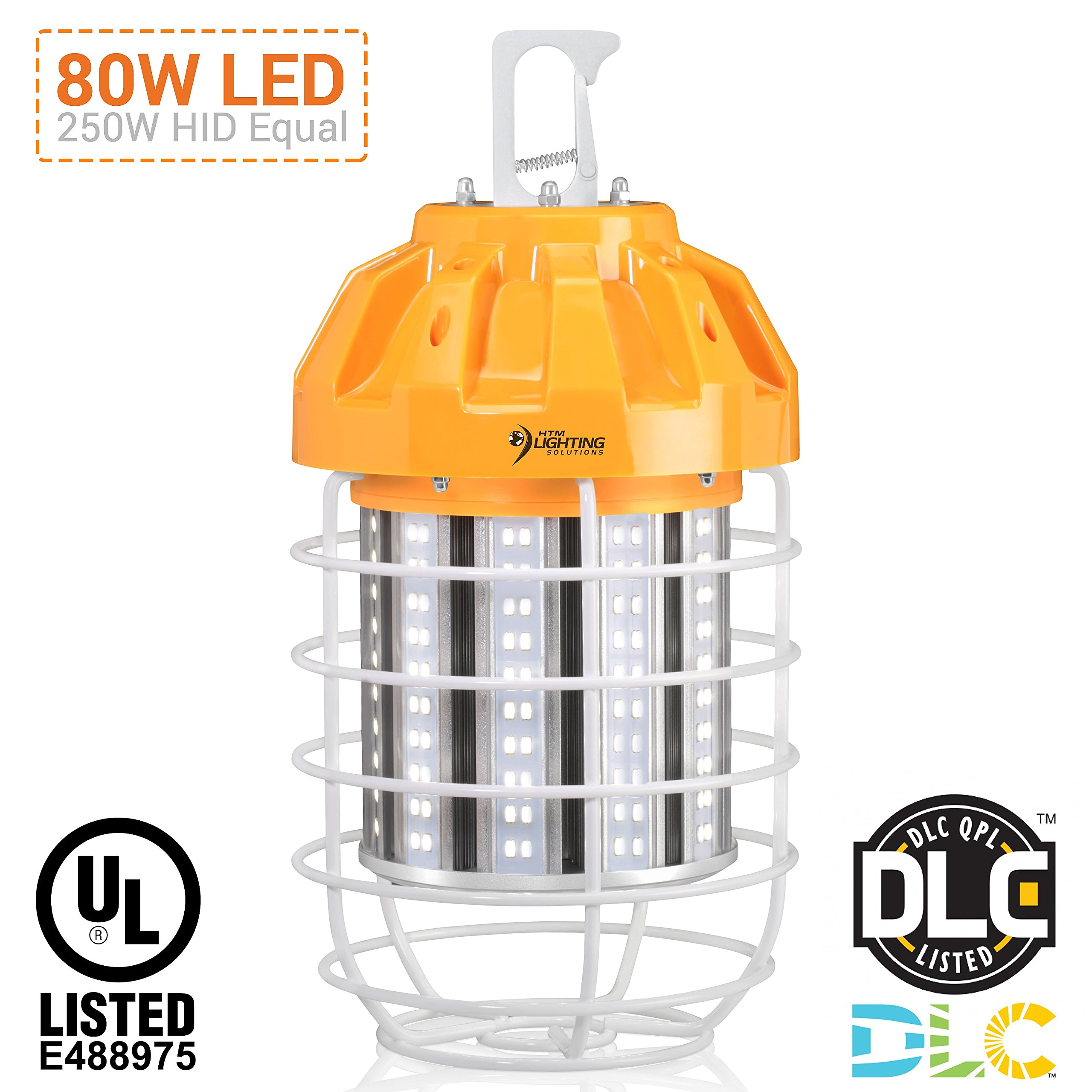 80W LED Drop Light For 250-300W HID/HPS/MH Replacement, 10070 Lumens, Spring Loaded Safety Latch, High Bay Lighting, Wire Guard, US Plug, 100-277VAC Rated, UL Listed & DLC Qualified (5000K Cool White)