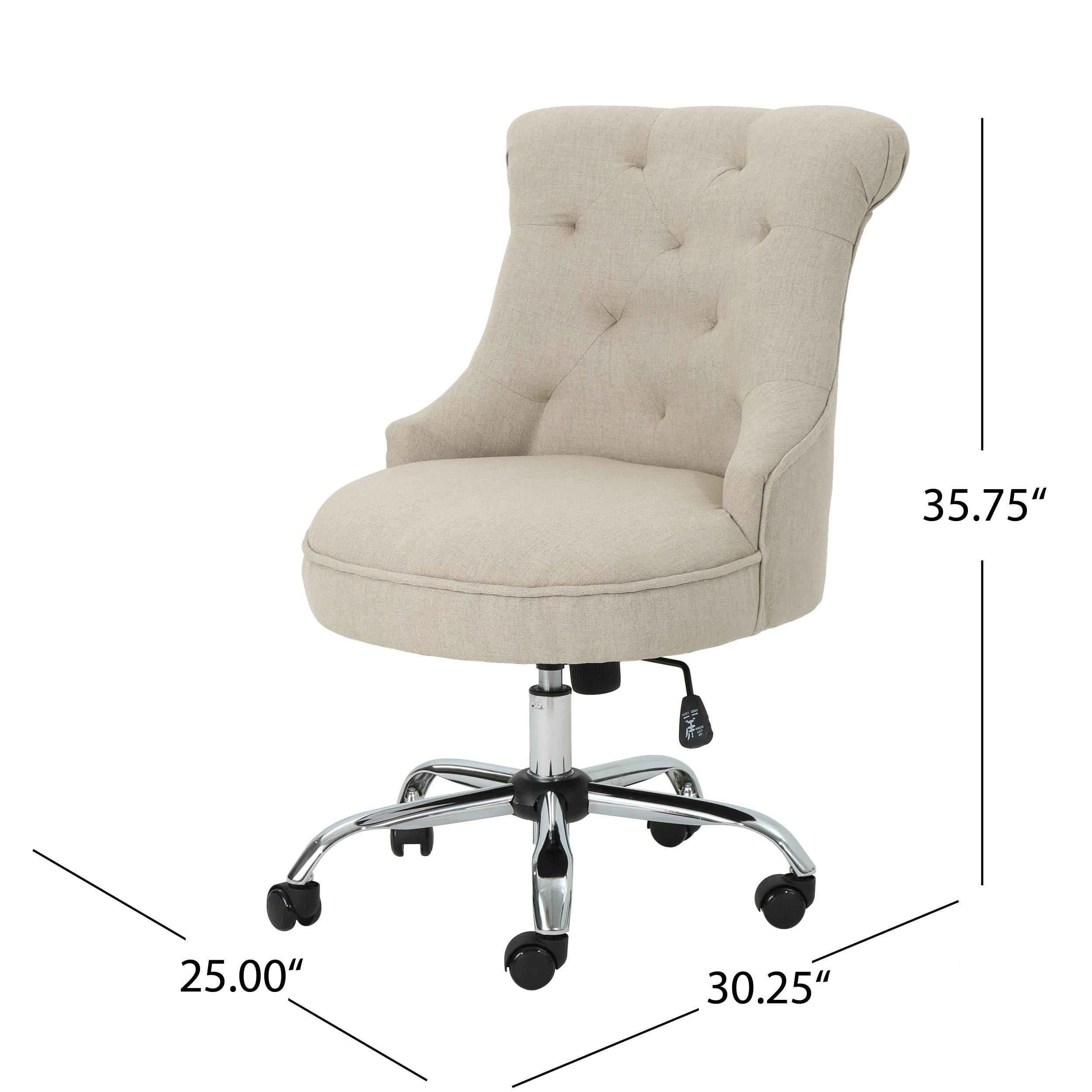 Christopher Knight Home 304964 Tyesha Desk Chair, Wheat + Chrome by Christopher Knight Home