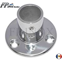 Embase / Platine Ronde 25mm De Luxe Droite 90° inox 316 - A4