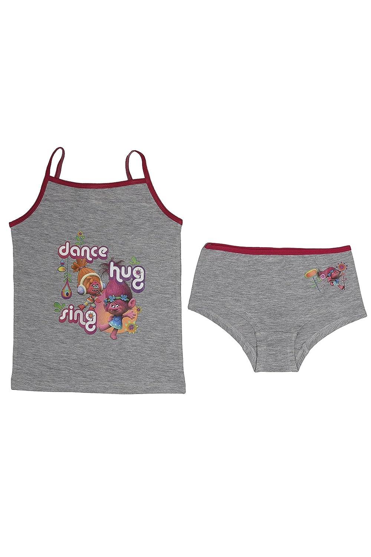 Trolls Kids Girls Poppy Underwear Set Grey Age 9-10 Years