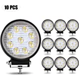 TURBO SII LED Light Bar 10Pack 27W 4 inch Truck LED Round Offroad Flood Work Light Pods Off Road Fog Driving Light for…