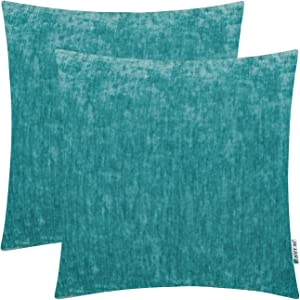 HWY 50 Cashmere Soft Solid Decorative Throw Pillows Covers Set Cushion Cases for Couch Bed Living Room 20 x 20 inches Cyan Teal Comfortable Pack of 2 Decor