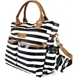Pannolinis Chic Diaper Bag Stylish and Comfortable Perfect For Baby Shower Includes Changing Pad Pacifier Pouch and Stroller Straps - Big Inside Pockets. Black / White