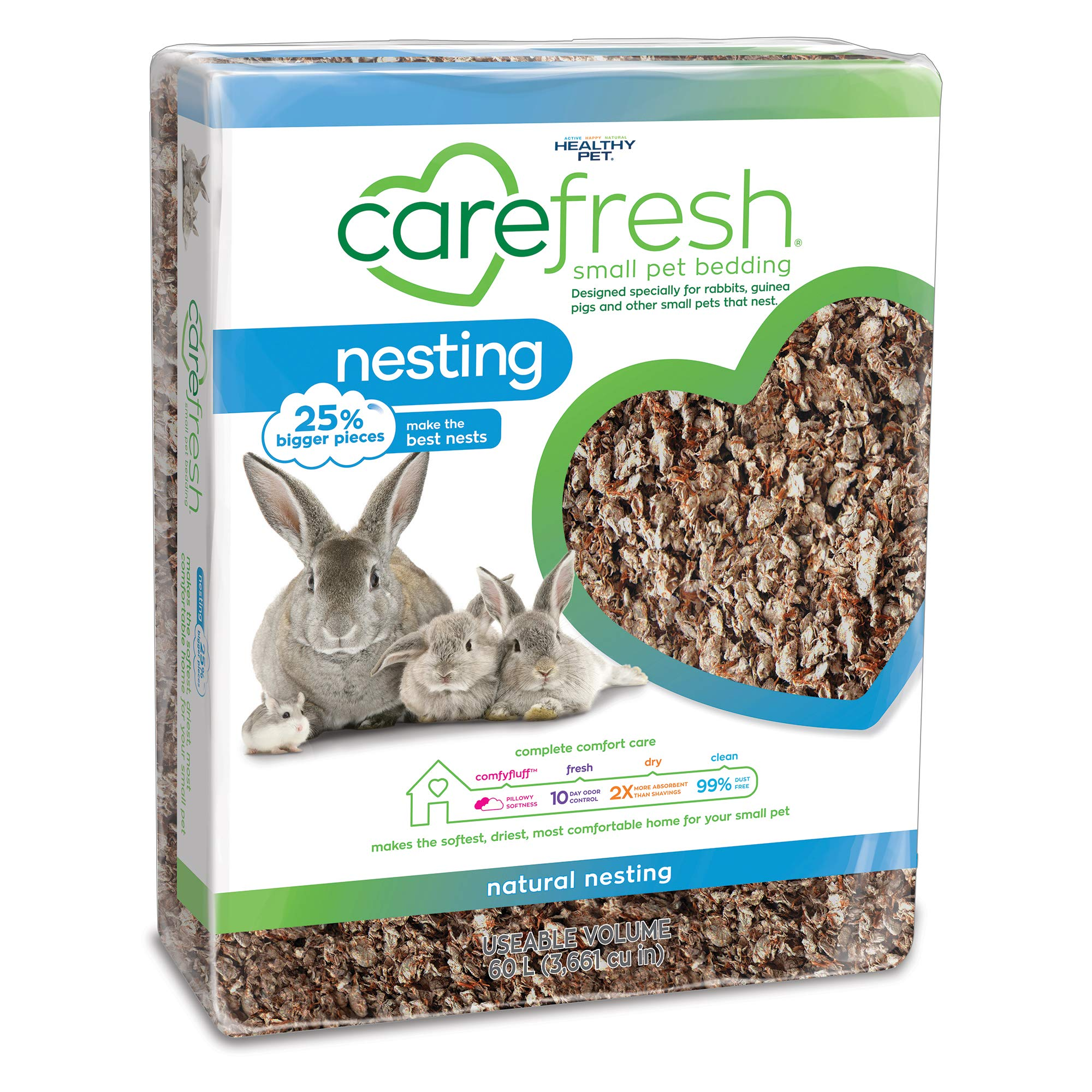 Carefresh Natural Nesting Small pet Bedding, 60L (Pack May Vary) by Carefresh