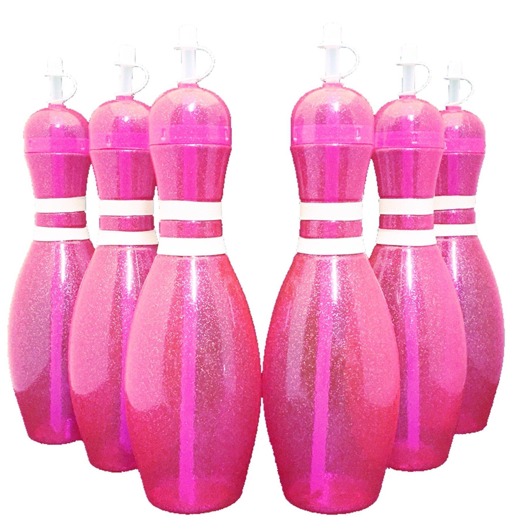 Large Bowling Pin Water Bottles Pink - 6 Pack