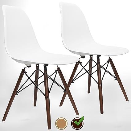 UrbanMod Mid Century Modern Style Dining Armless Side Chairs (Set Of 2)  Walnut Legs