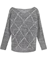 CHN'S Women's Round Neck Chunky Cable Long Sleeve Loose Casual Sweater