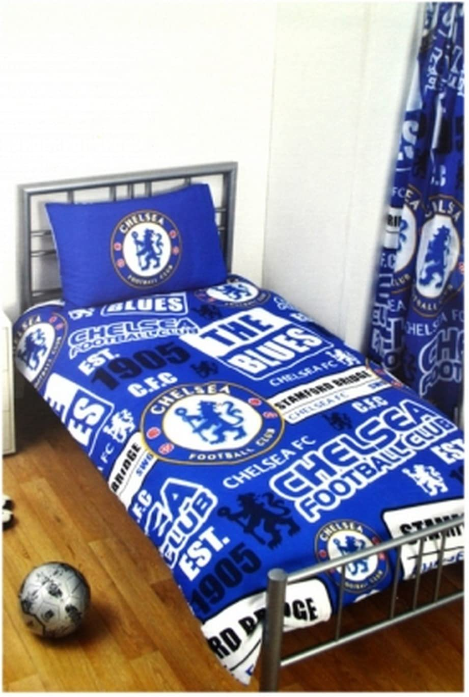 Chelsea FC Official Soccer Patch Twin Duvet And Pillow Case Set (One Size) (Blue/White)