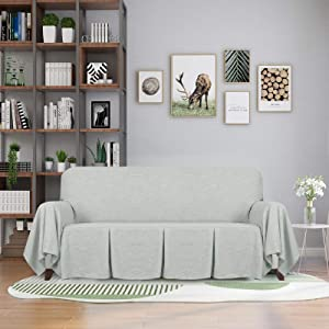 ZNSAYOTX 1 Piece Couch Throw Covers for 3 Cushion Couch Sofa Slipcovers for Living Room Slip Cover Pet Dog Washable Furniture Protector with Ruffles (Sofa, Grey)