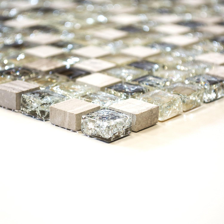 Carrelage mosaique pierre carrelage mosaïque en verre carré Crystal Noir 8mm #478 123mosaikfliesen
