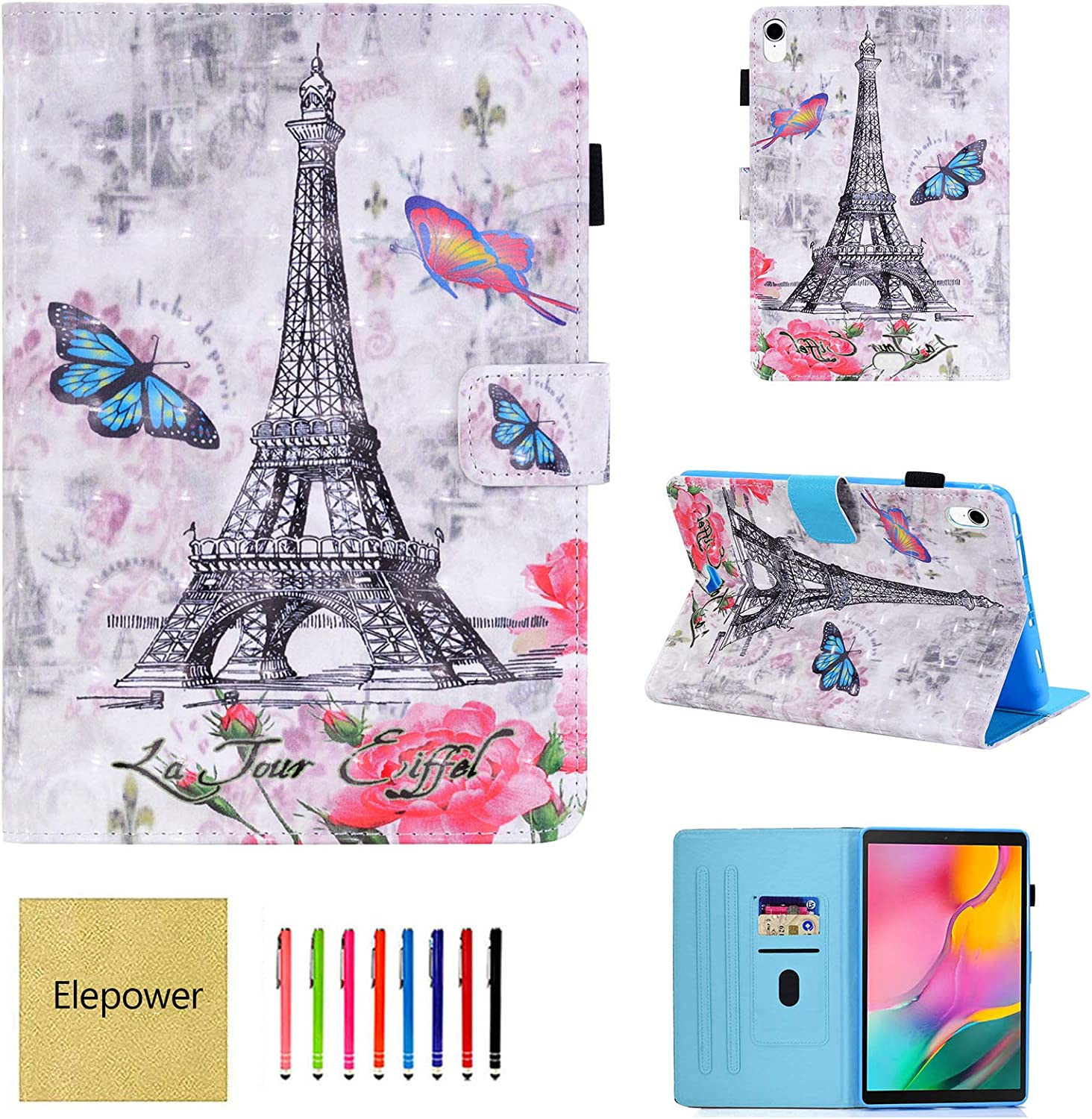 iPad Pro 11 Case, Elepower 3D Print Slim Fit PU Leather Folio Folding Kick Stand Protective Cover with Card Pencil Holder Strong Magnetic Closure for Apple iPad Pro 11-inch 2018 Release, Eiffel Tower