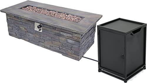 Christopher Knight Home 305417 Welsh Outdoor Light Weight Rectangular Fire Pit, Natural Stone Black