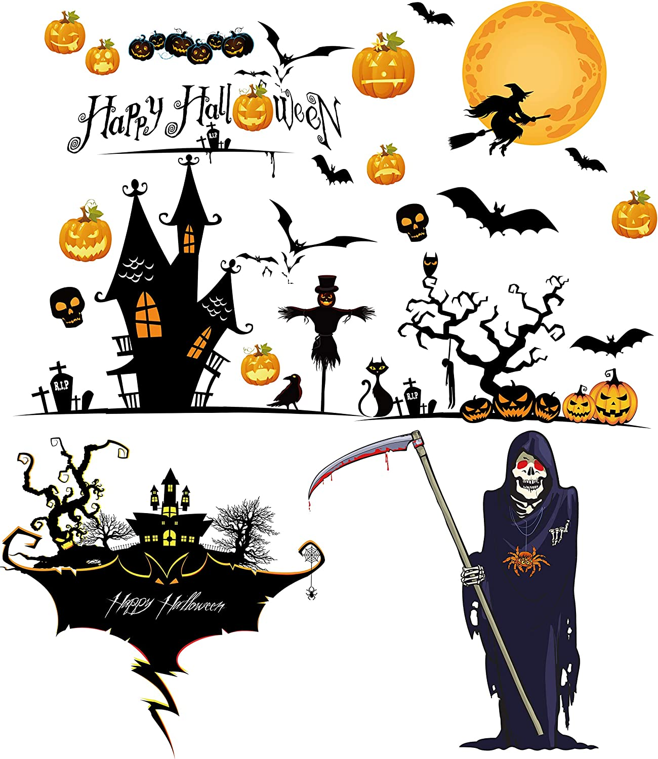 Halloween Window Decorations Stickers 40pcs (3 THEMES). Haunted House, Scary Ghost, Bats, Witch + Pumpkins Decals for Indoor Glass Door + Wall. Home + Office Party Decor Sticker by Decoration Creation