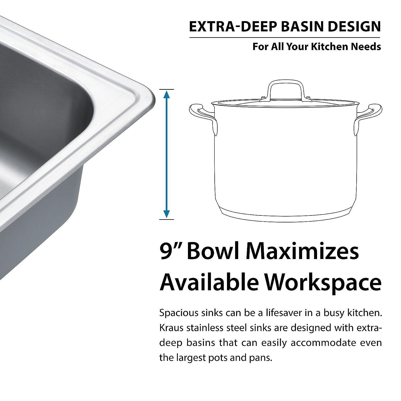 Kraus KTM33 33 Inch Topmount 50/50 Double Bowl 18 Gauge Stainless Steel  Kitchen Sink     Amazon.com
