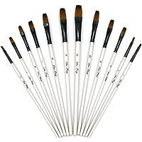 YOUSHARES 12 Pcs Flat Art Paint Brush Set, Professional Paintbrushes Nylon Hair Artist for Watercolor, Oil, Acrylic Paint / Craft, Nail, Face Painting