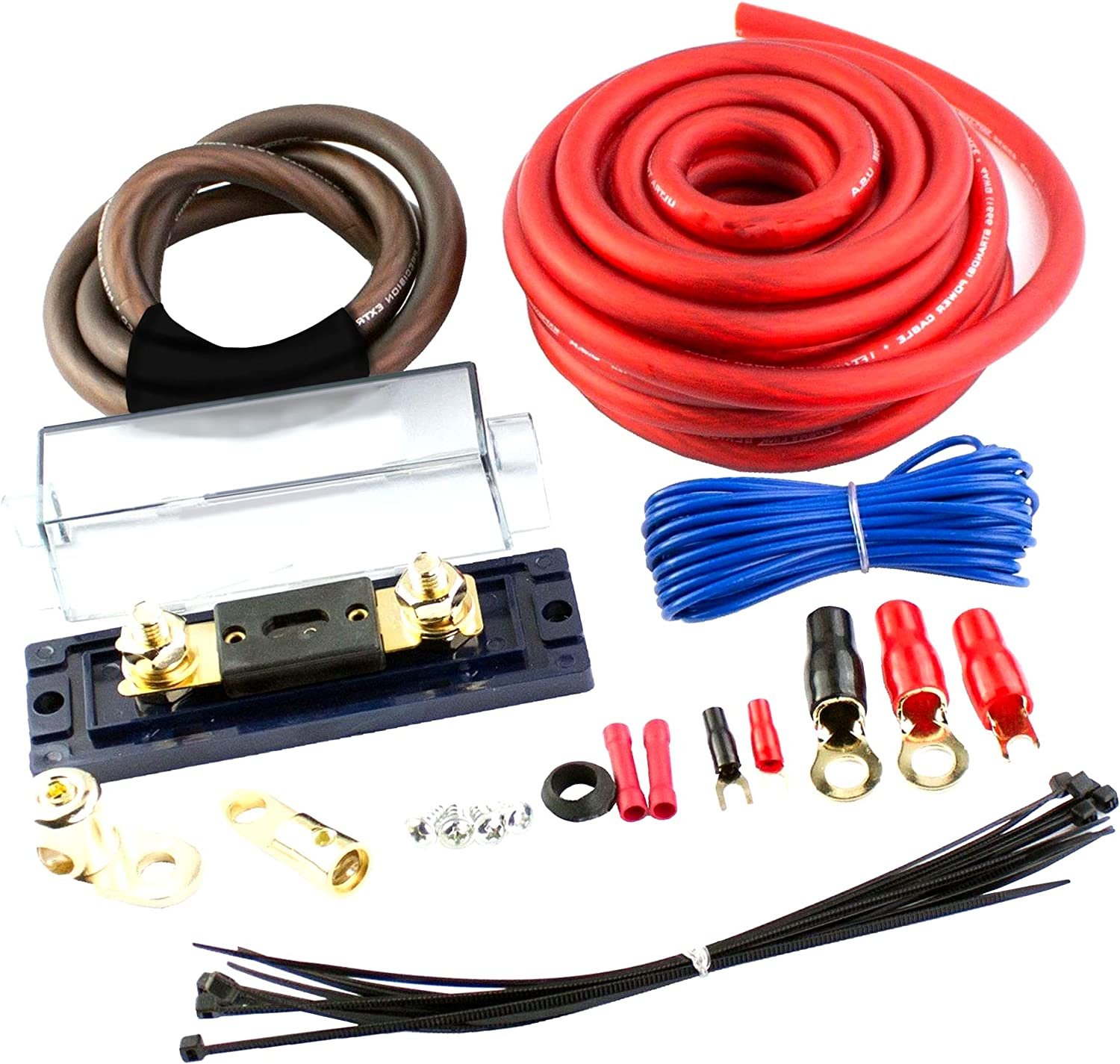 amazon.com: amplifier wiring kit 4 gauge amp car audio gauge ofc copper  2000 watts installation kit type w fuses subwoofers speakers amp dual  auxiliary battery isolator chargers cables power ground cable: car  amazon.com