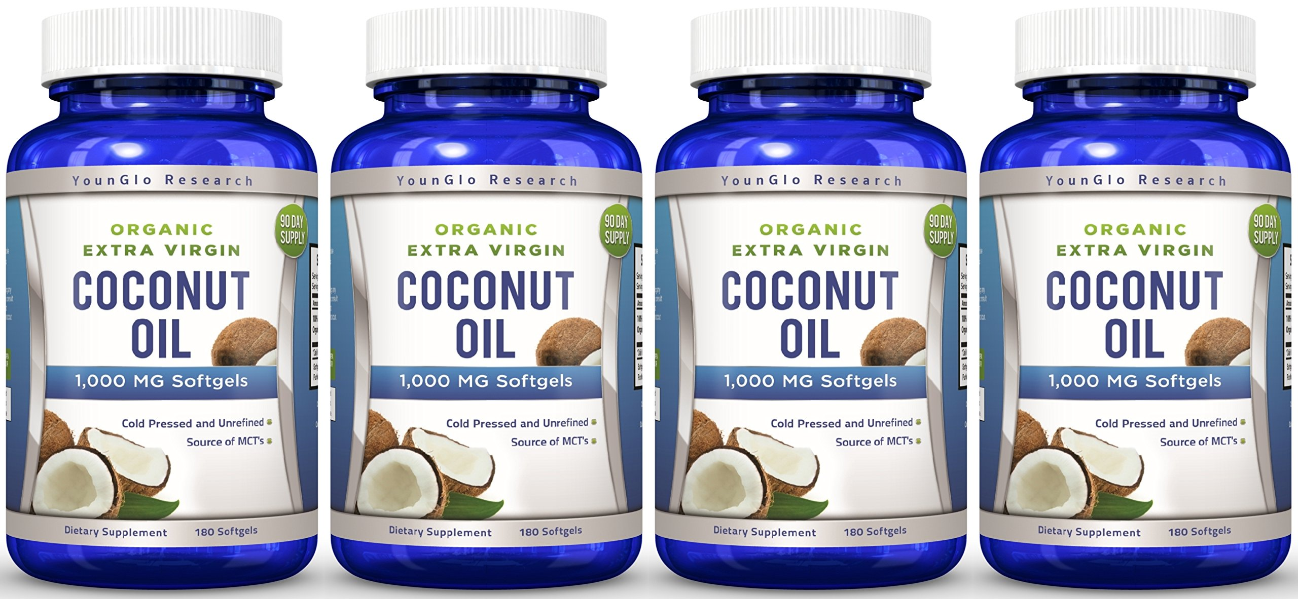 Coconut Oil Capsules - 1000 mg Organic Extra Virgin - 180 Softgels - Great Pills for Hair, Skin, Energy and Weight Management (4 Pack)