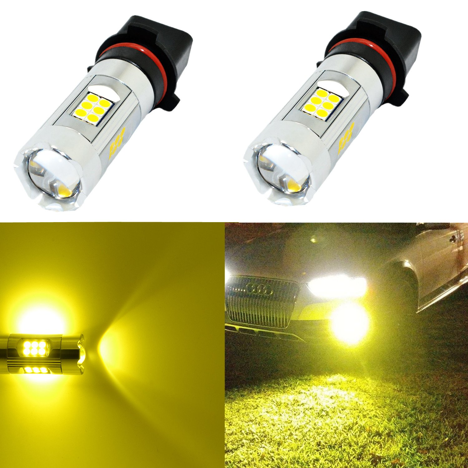 Alla Lighting 3200 Lumens Newest Version High Power 3030 27-SMD Super Bright 3000K Gold Yellow PWY26W PSX26W 12278 LED Bulb for Fog Light Bulbs Lamp Replacement