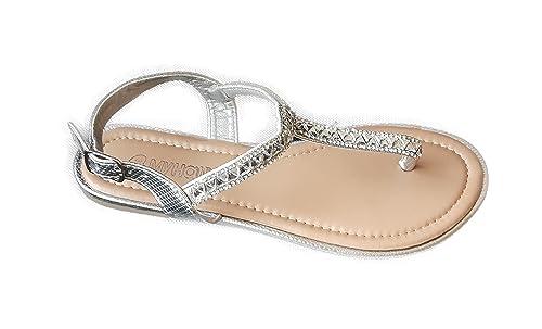 Hailys Sandale Zehentrenner Gr. 36 Silber Silver Grau Riemchen-Sandalen  Damen Schuhe Römersandalen Lederfrei 2fa142d3d3