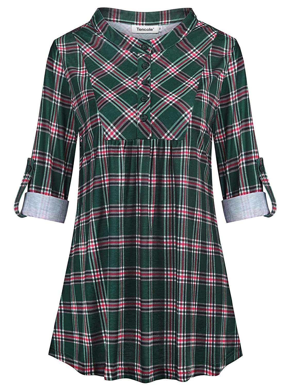 Blackredgreen Tencole Women Long Sleeves Sweatheart Neckline Pleated Front Casual Tunic Tops