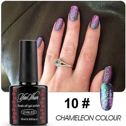 yaoshun marca Laca de uñas de gel Cambio de color camaleón Soak Off metálico color barniz. Pasa ...