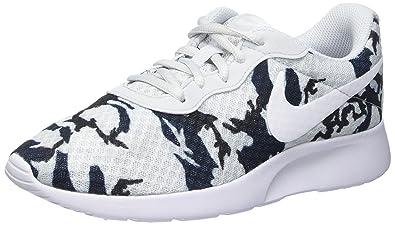 Nike WMNS Tanjun Print, Entraînement de Course Femme, Argent - Plateado (Pr Platinum/White-Pr Pltnm-Blk), 38 EU