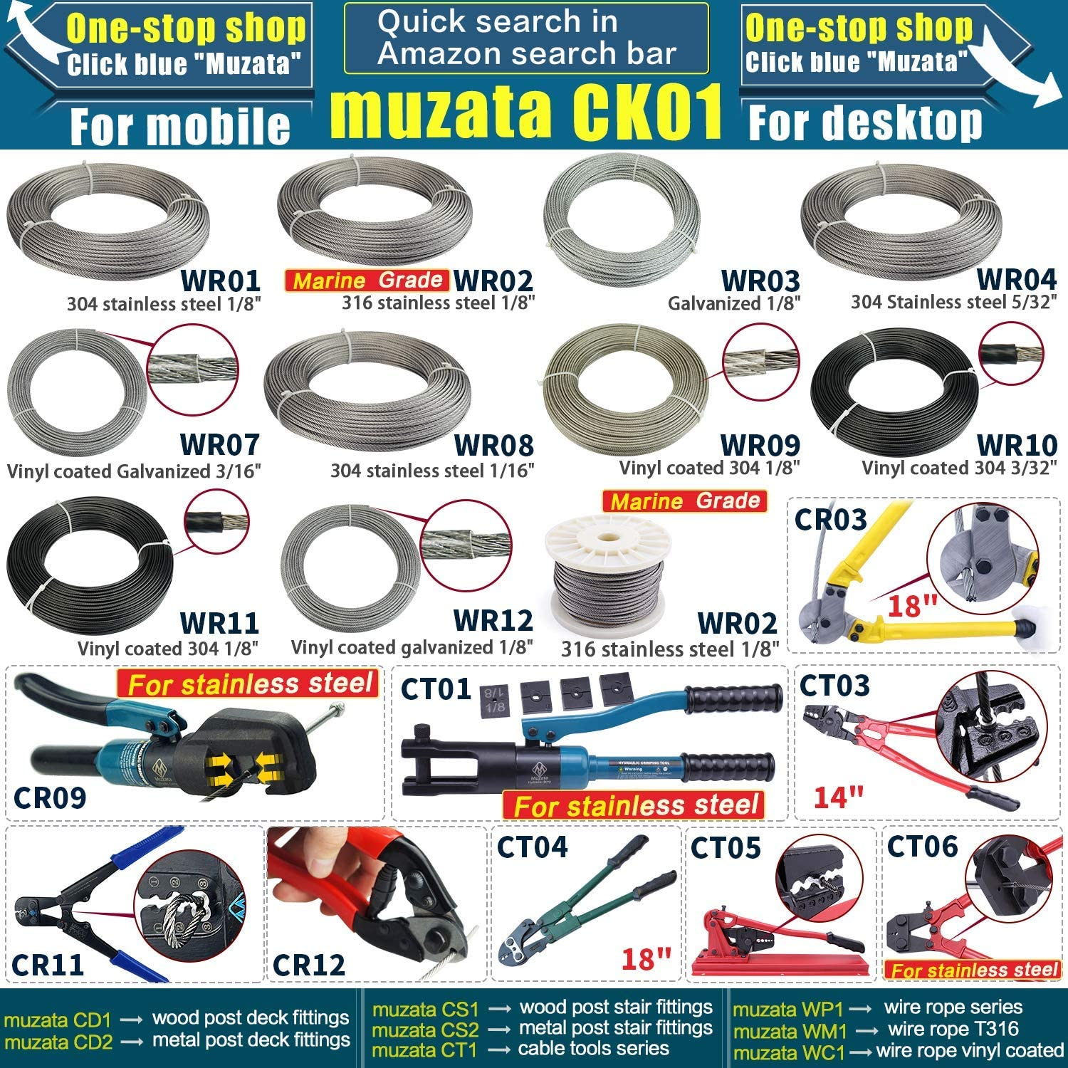 Muzata 12 Pairs Stainless Steel Cable Railing Kit Systems Fit 1//8 Wire Rope,Angled 180/° Adjustable Swage Toggle Turnbuckle Tensioner and End Fititing,T316 Marine Grade,CK07,Series CA1 CD1 CS1
