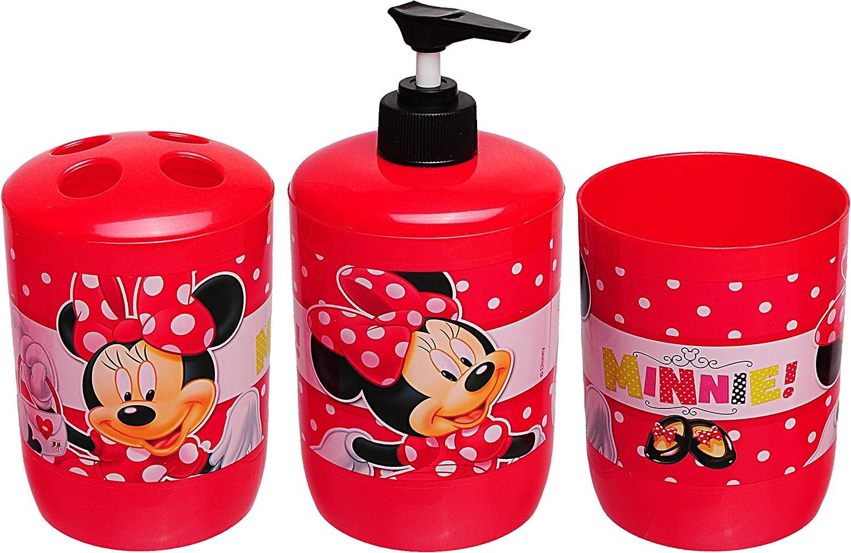 Zahnb/ürstenhalter Badeset /& Zahnputzset /_ Disney Minnie Mouse f/ür Zahnb/ürste Kinder Baby Name Zahnputzbecher inkl Seifenspender alles-meine.de GmbH 3 TLG Kinder..