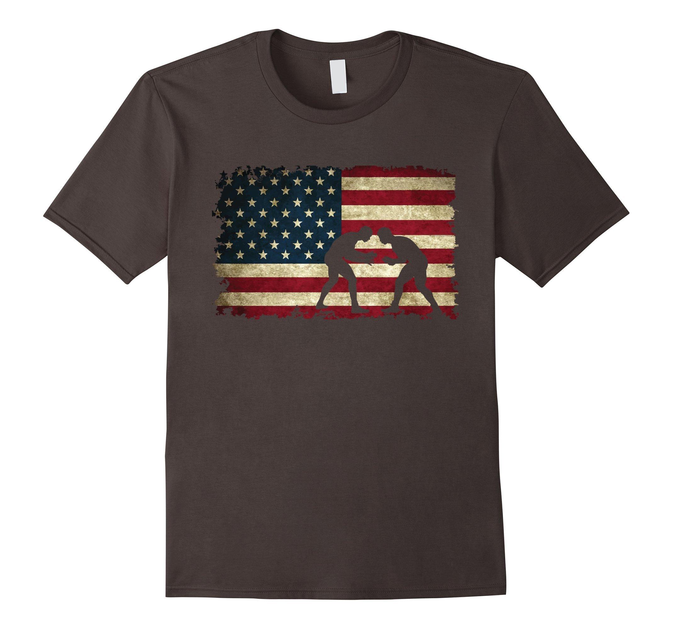 Mens Wrestling American Flag Tee Shirts Gift for a Wrestler Small Asphalt