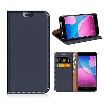 MOBESV Funda Cartera Huawei Y6 Pro 2017, Funda Cuero Movil Huawei Y6 Pro 2017 Carcasa Case con Billetera/Soporte para Huawei Y6 Pro 2017 - Azul Oscuro