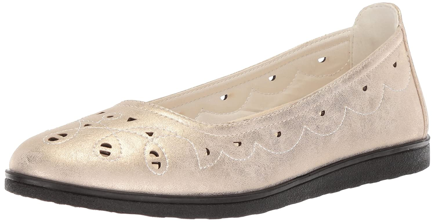 Easy Flat Street Women's Alfie Ballet Flat Easy B077Z99Y44 7.5 N US|Gold/Metallic a00605