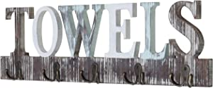 MyGift Rustic Wood 5 Dual-Hook Towel Hanging Rack with Cutout Letters