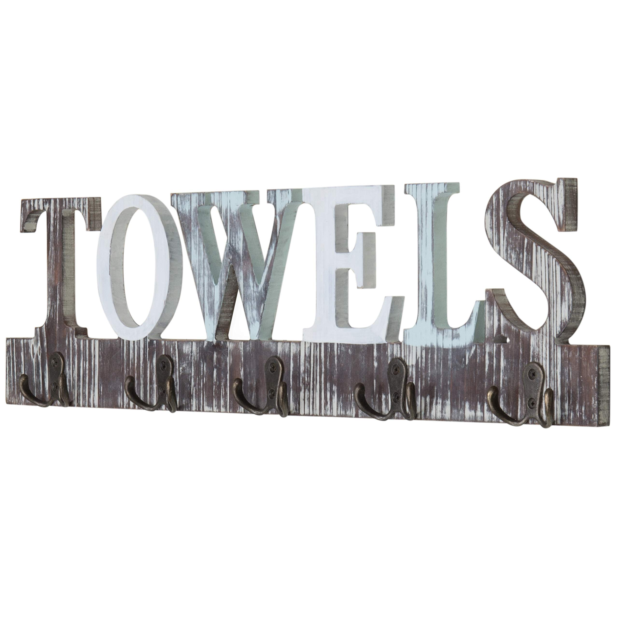 MyGift Rustic Wood 5 Dual-Hook Towel Hanging Rack with Cutout Letters by MyGift