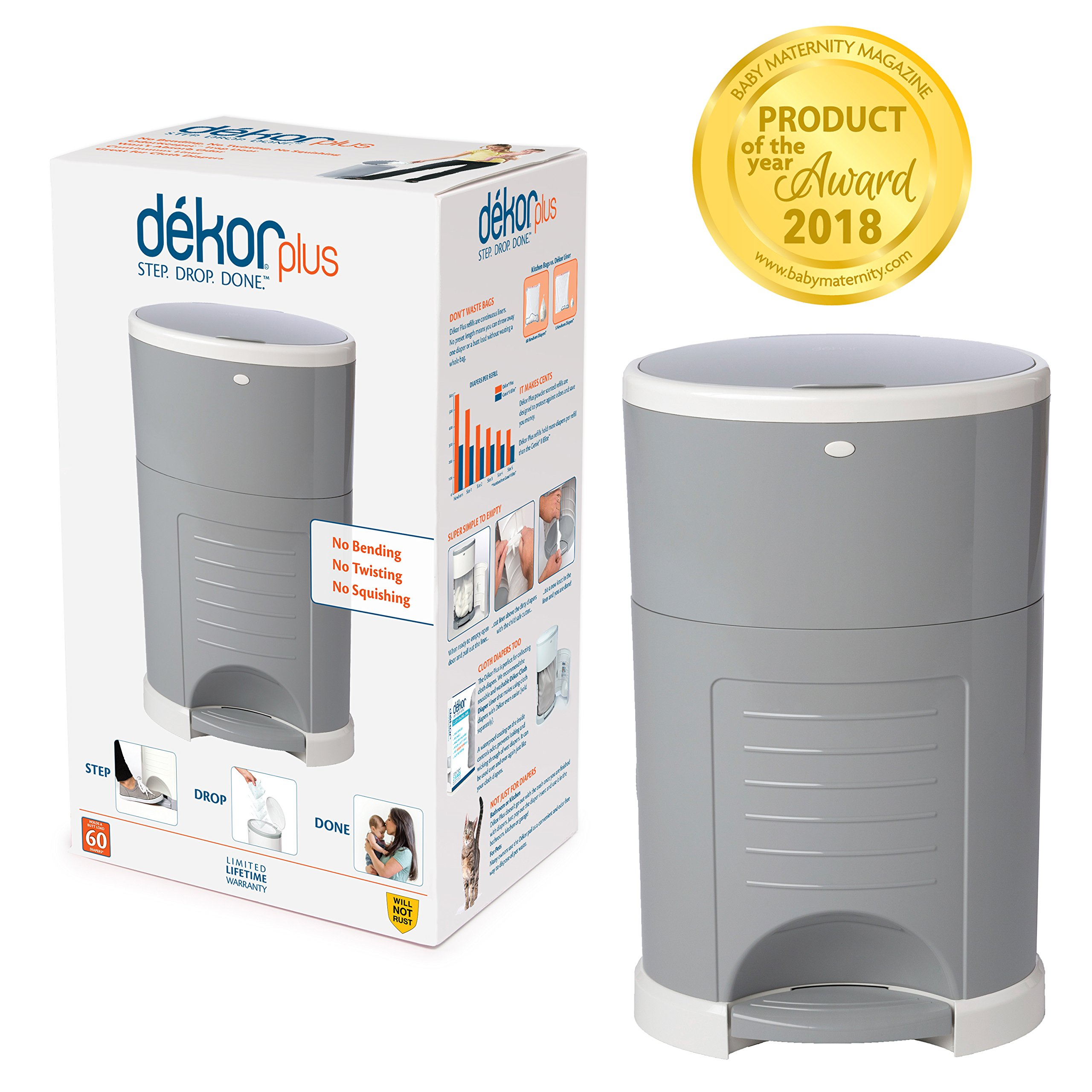 Dekor Plus Hands-Free Diaper Pail | Gray | Easiest to Use | Just Step - Drop - Done | Doesn't Absorb Odors | 20 Second Bag Change | Most Economical Refill System |Great for Cloth Diapers by DEKOR
