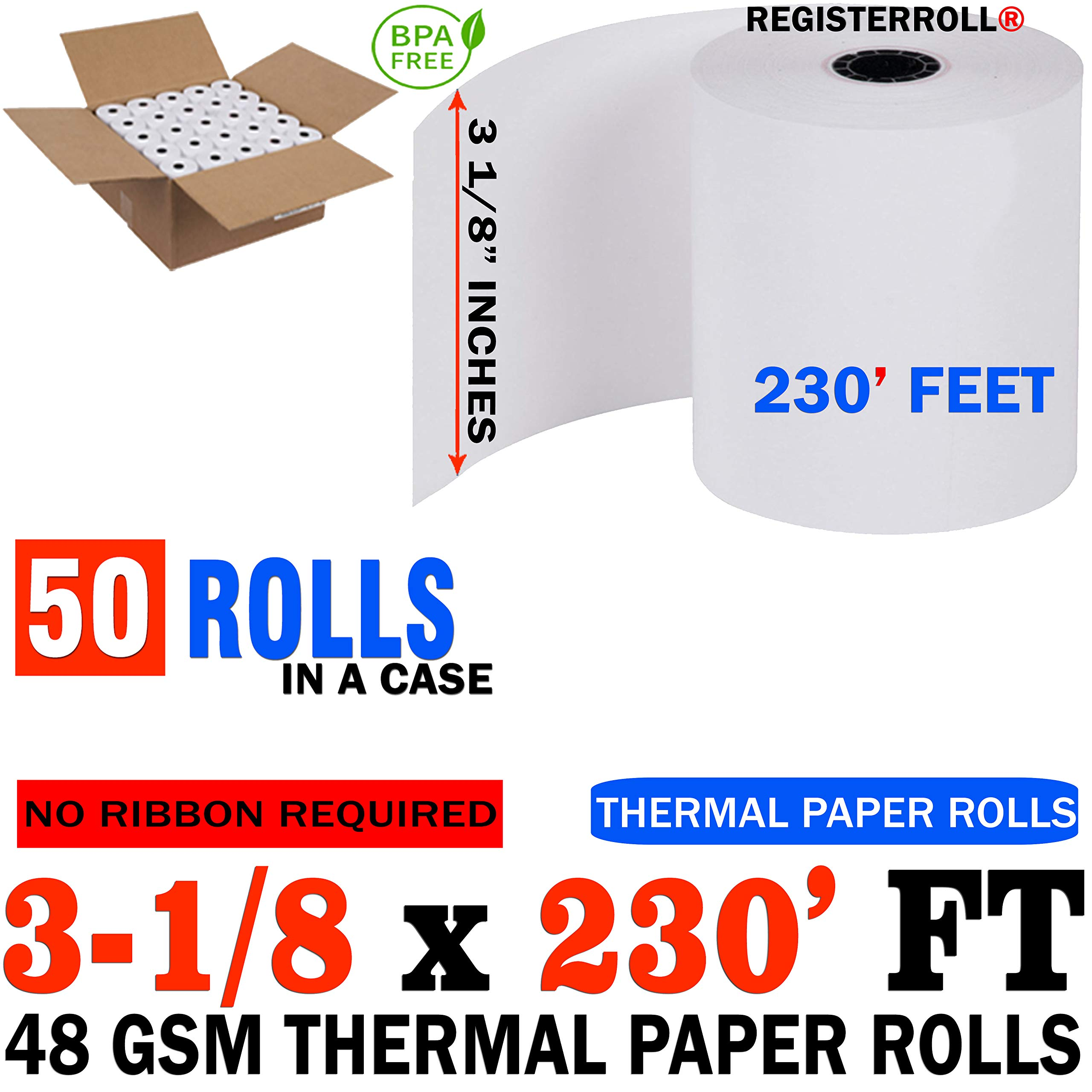 3 1/8 x 230 Thermal Paper roll 50 Pack - Register Tape 3 1/8 Thermal from REGISTERROLL