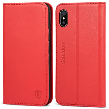 d06ff4c63a9d iPhone X ケース SHIELDON iPhone 10 ケース 手帳型 本革 カード収納 スタンド機能【