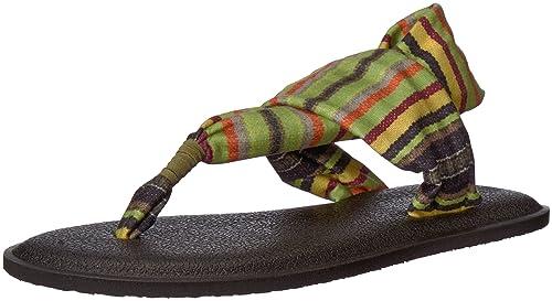 8b0b5e3294e7 Sanuk Kids Girls  Yoga Sling Burst Prints Flip-Flop Green Kauai Blanket 13