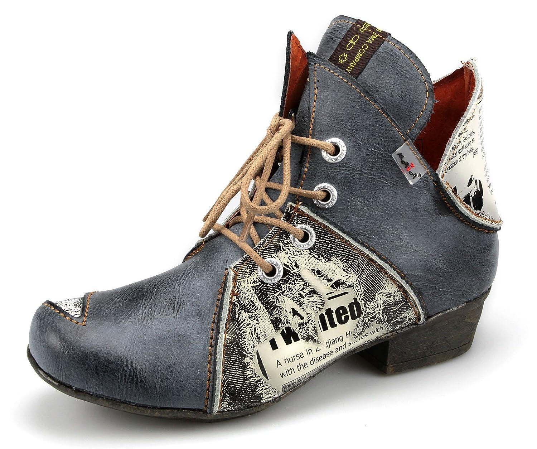 TMA Damen Stiefeletten Boots Stiefel Leder Damenschuhe 8818 (36, Schwarz / Grau)