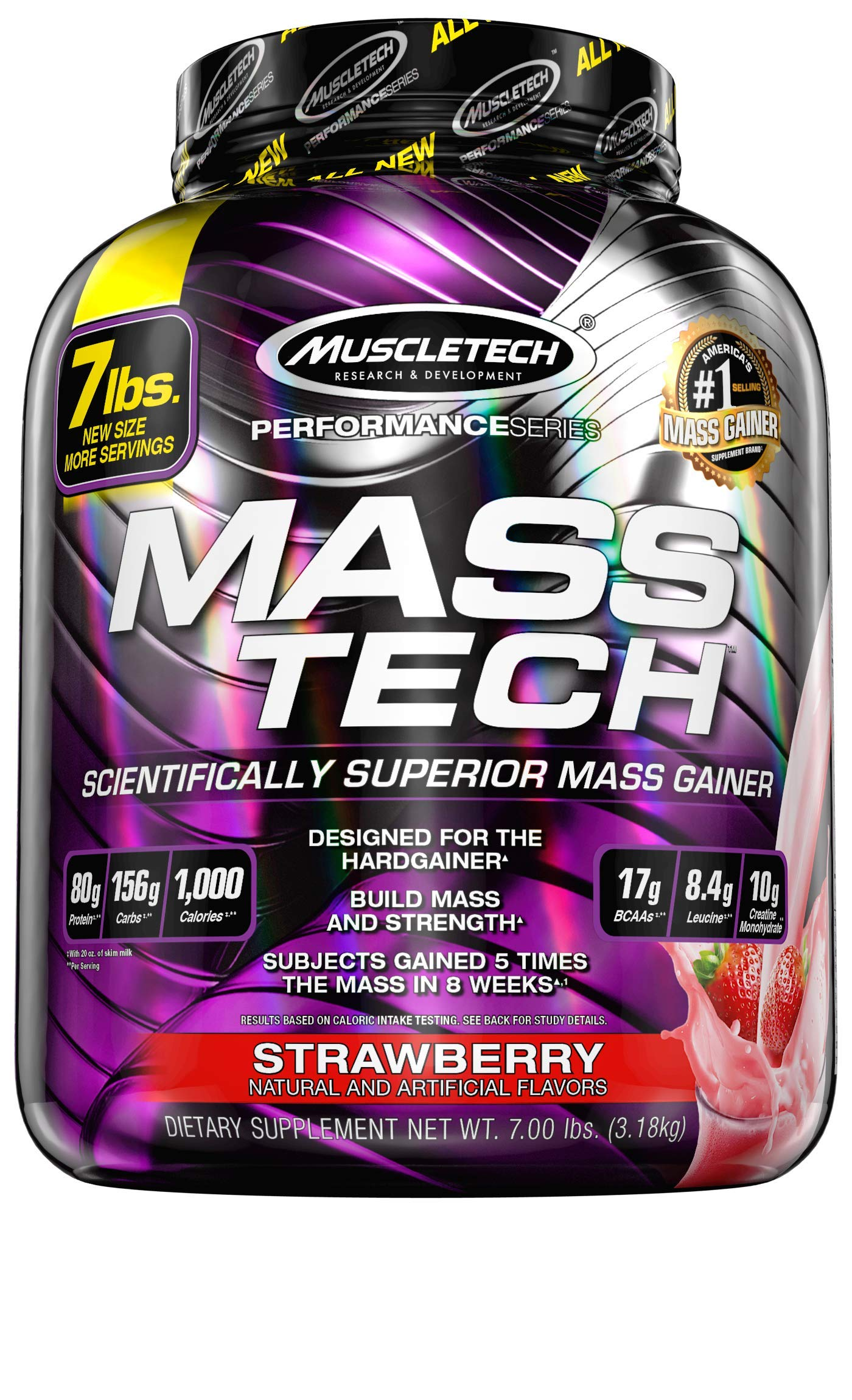 Mass Gainer Protein Powder | MuscleTech Mass-Tech Mass Gainer | Whey Protein Powder + Muscle Builder | Weight Gainer | Protein Powder for Muscle Gain | Creatine Supplements | Strawberry, 7 lbs