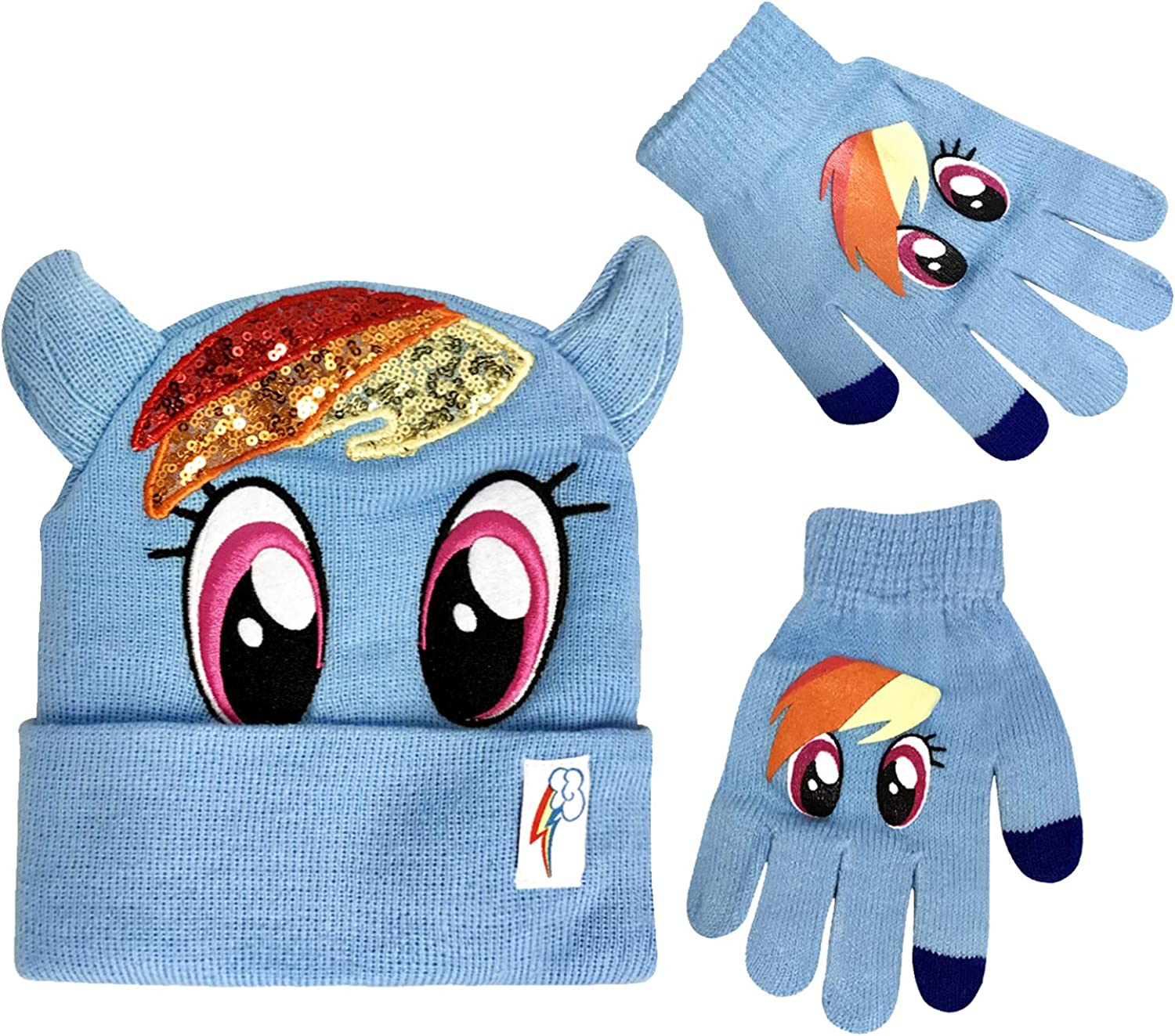 My Little Pony Winter Beanie Hat with Matching Glove Set Rainbow Dash Character [4015]