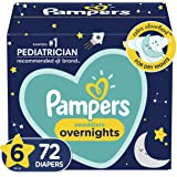 Diapers Size 6, 72 Count - Pampers Swaddlers Overnights Disposable Baby Diapers, Enormous Pack (Packaging May Vary)