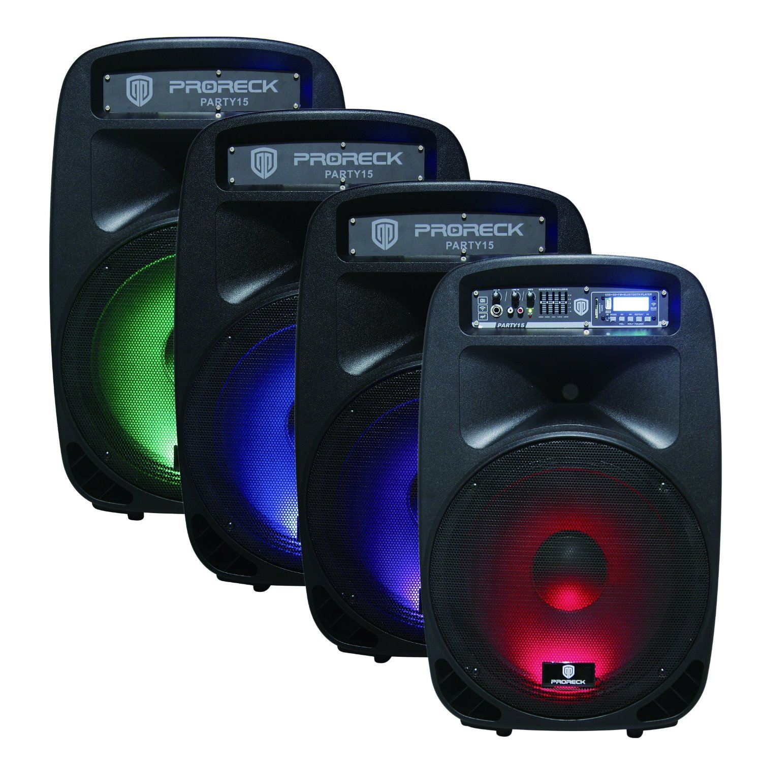 PRORECK PARTY 15 Portable 15-Inch 2000 Watt 2-Way Powered PA Speaker System Combo Set with Bluetooth/USB/SD Card Reader/ FM Radio/Remote Control/LED Light by PRORECK (Image #2)